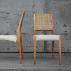 Esszimmerstühle mit Geflecht und Wollbezug, Conni Kern Interior, Design und vintage Möbel in Mannheim