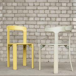 2er Set Bruno Rey stapelbare Stühle in gelb und mint-grau, Kusch & Co, Conni Kern Interior, Design und vintage Möbel in Mannheim