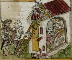 Darstellung von Wiboradas Tod von C. Sailer; Stiftsbibliothek St. Gallen