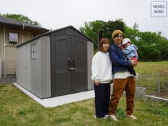 木製物置、収納庫、ウッドデッキ、ヒノキ、SPF、施工例