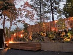 イタウバ、ウッドフェンス、ガーデン、照明、収納ボックス、施工例