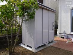 物置、サイプレス、雑草対策、立水栓、施工例