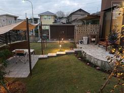 石畳テラス、御影石、スクリーンブロック、シェード、ドッグラン、施工例