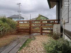 フェンス、イタウバ、ウッドフェンス、ウッド門扉、施工例