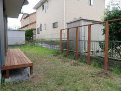 目隠しフェンス、木製フェンス、イタウバ、ウッドデッキ、施工例