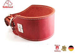 Windhundhalsband rot creme abgenäht Leder Handarbeit