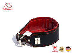 Windhundhalsband schwarz Leder rot gepolstert Bolleband Handarbeit