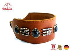 Windhundhalsband Leder 6 cm breit cognac mit schwarzen  Perlen