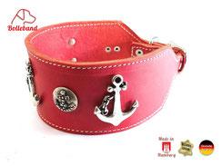 Windhundhalsband rot Leder mit heller Naht und Anker Applikationen