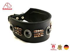 Windhundlederhalsband gepolstert mit Perlen Handarbeit Bolleband