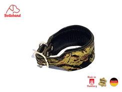 Windhundhalsband für kleine Windhunde mit Goldblumenmuster und Polsterung aus Neopren Bolleband