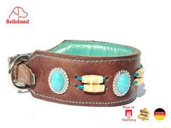 Lederhalsband für Windhunde braun mit türkisen Steinen