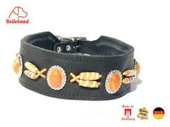 Windhundhalsband Leder schwarz mit orangenen Perlen gepolstert