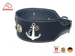 Windhundhalsband Leder in navy creme abgenäht