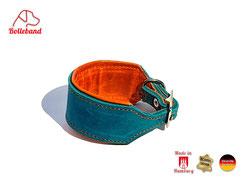 Windhundhalsband türkis mit orangenem Polster Lederhalsband Windhund