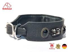 Lederhalsband für Windhunde schwarz mit schwarzen Perlen