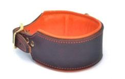 Jagdhundhalsband Schweißhalsband NAchsuche Halsband braun orange mit Polster und Messingwirbel Bolleband