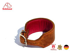 Windhundhalsband cognac pink gepolstert Leder Handarbeit