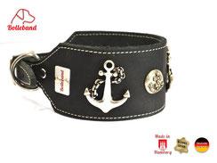 Lederhalsband Windhund schwarzes Leder creme abgenäht mit Anker Appliaktion