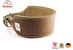 Windhundhalsband Leder oliv 6 cm breit creme abgenäht Handarbeit