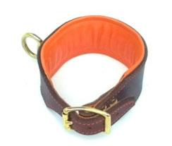 Lederhalsband Jagdhund Schweißhalsung Schweißarbeit braun orange Messingwirbel Bolleband Handarbeit