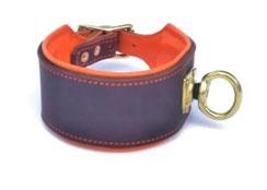 Schweißhalsung Leder NAchsuchehalsband braun orange Bolleband Jagdhundhalsband
