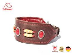 Windhundhaslsband Leder braun mit roten Steinen und weiteren Perlen