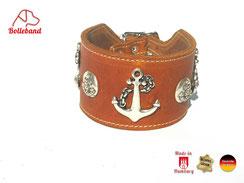 Halsband für Windhund cognac Leder hell abgenäht Handarbeit