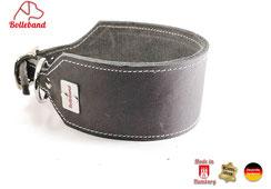 Lederhalsband Windhund grau creme abgenäht Handarbeit