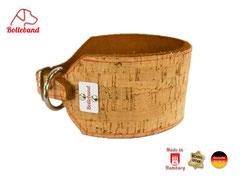 Windhundhalsband aus Fettleder mit Extra Oberleder Korkleder 6 cm breit