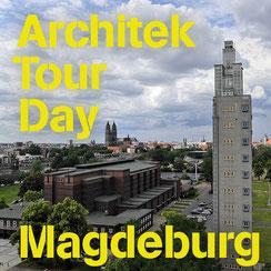Titelbild ArchitekTour Day Magdeburg, Blick auf Stadthalle mit Albinmüllerturm