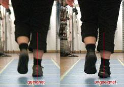 die einlagen werden in verschiedenen Schuhen getragen, in der Dynamik verglichen, die geeigneten Schuhe finden wir so heraus