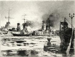 """""""Petropawlowsk und Sewastopol/Kriegsschiffe"""", Kohle auf Papier, 40 × 30 cm, 2020"""