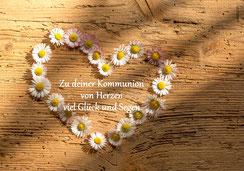 Glückwunschkarte zur Erstkommunion, Kommunion, mit kindgerechtem Spruch, Spruchkarte Kommunion, Kommunionkarte Herz