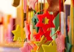 Weihnachtskarte, Fotokarte mit Sternen