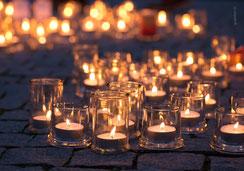 Weihnachtskarte, Fotokarte, Kerzenlichter, eine Million Sterne, Caritas, Luzern
