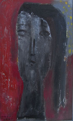 Sorrowful woman  25.5×15.5cm  Oil on paper