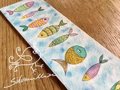 Bunte Fische, Original Illustration, Lesezeichen von silvanillion
