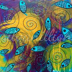 Fischblumenblätter wirbeln umher (2017)    Acrylbild auf Leinwand von silvanillion, 20x20cm