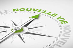 """boussole indiquant """"nouvelle vie"""""""