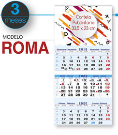 Calendario faldilla 3 MESES (NO plegable)
