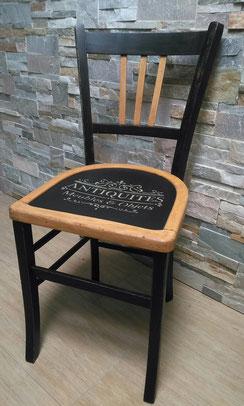 relooking de meubles chaise bistrot ancienne noir bois pochoir antiquités, le mans, sarthe