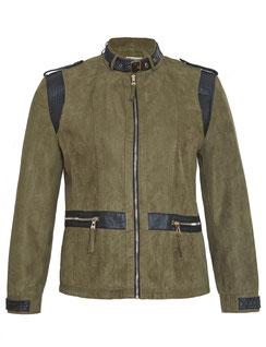 Blouson in Wildlederimitation, khaki  Gr 50 , elegante Mode für mollige junge Frauen