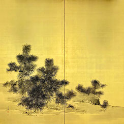 Mochizuki Gyokkei (1874-1938) | Pair of two-panel painted screens with Pines