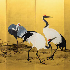 Mochizuki Gyokkei (1874-1938) | Pair of six-panel painted screens with Cranes
