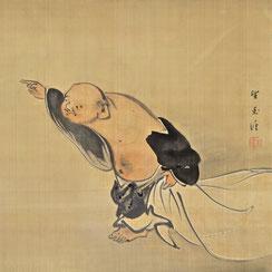 Mochizuki Gyokkei (1874-1939)   Hotei Pointing at the Moon