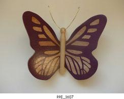 Papillon PPE_1607 - Dessus des ailes marquetées - Dessous des ailes en placage