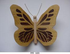 Papillon PPE_1601 - Dessus des ailes marquetées - Dessous des ailes en placage