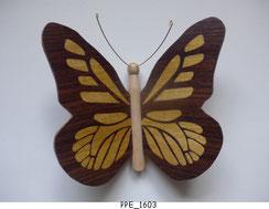 Papillon PPE_1603 - Dessus des ailes marquetées - Dessous des ailes en placage