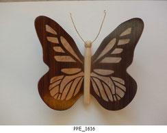 Papillon PPE_1616 - Dessus des ailes marquetées - Dessous des ailes en placage